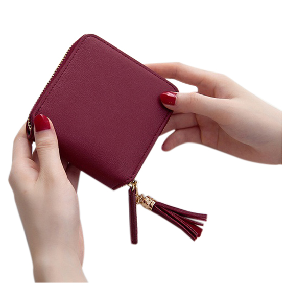 HEBA Women Card Holder Solid Color Tassel Pendant Coin Cash Purse PU Leather Short Square Wallet