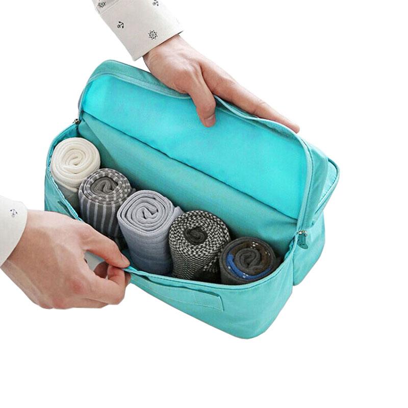 Angemessen Reisen Wasserdichte Nylon 2 Fächer Zipper Reise Unterwäsche Tasche Modern Und Elegant In Mode