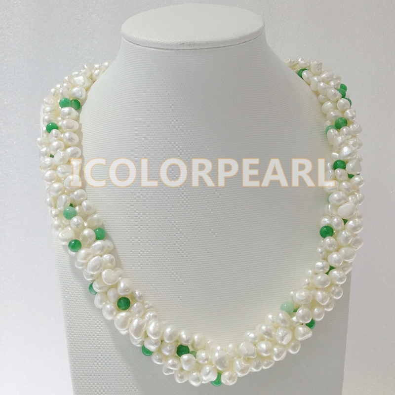 WEICOLOR 55-60CM Five-Strand 8mm White Flat Freshwater Pearl& Green Stone Jewelry Set With A Big Nice SHell Carviing Clasp.WEICOLOR 55-60CM Five-Strand 8mm White Flat Freshwater Pearl& Green Stone Jewelry Set With A Big Nice SHell Carviing Clasp.