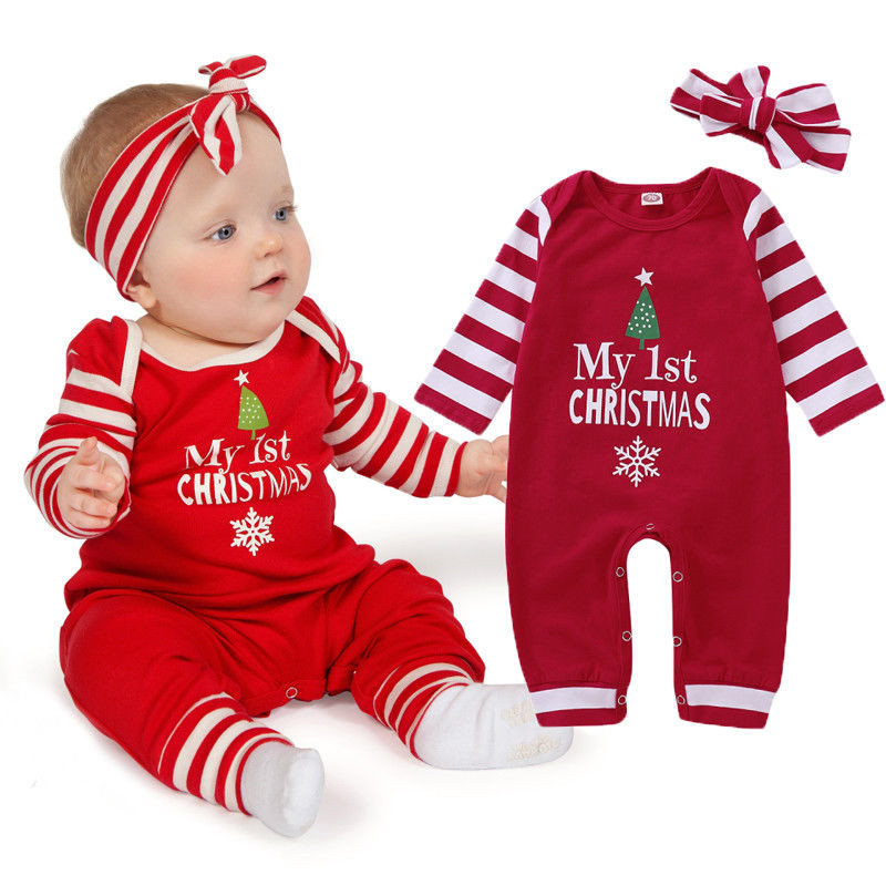 Christmas Baby Girls   Romper   Xmas Long Sleeve Striped   Romper   Red Cotton Warm Jumpsuit+Headband Girls New Years Outfit Clothes Set