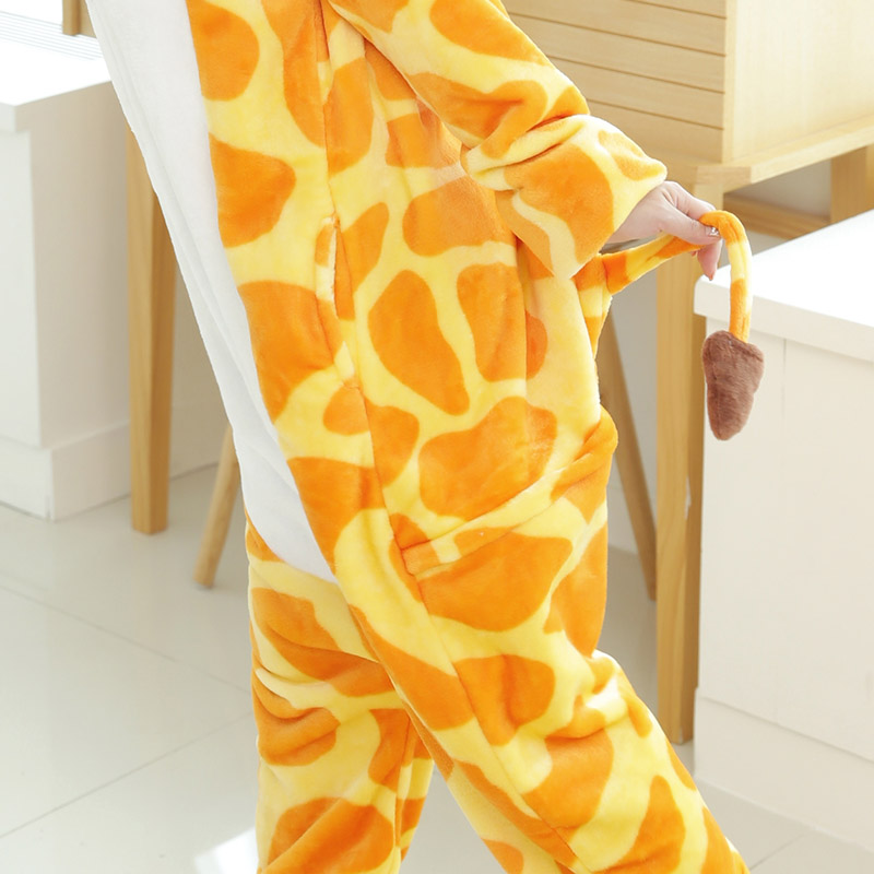 Adult Giraffe Cosplay Costume Flannel Adult Women Men Couple Love Live Animal Cosplay Hoodie Pyjama Halloween Costume