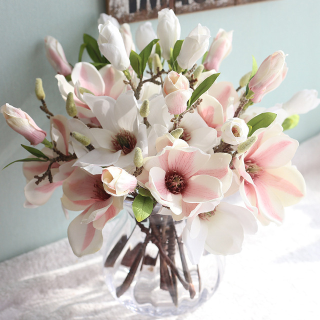 6pcs decor silk artificial magnolia artificial flower bush for home party wedding new year christmas decoration