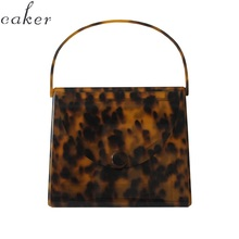 Caker Brand 2019 Women Acrylic handbags Fashion Colorful Leopard print Square Day Clutch day Bags