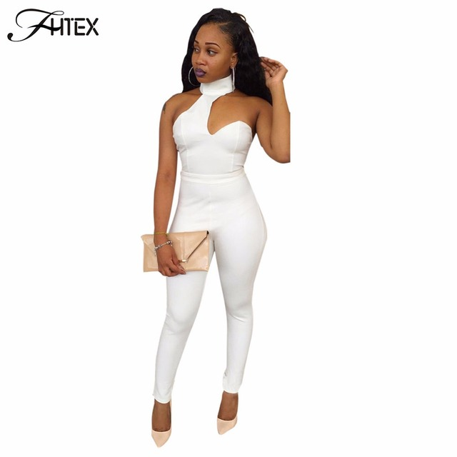 Sexy Club Jumpsuit for Women New Solid Color Halter Hollow Out Skinny Casual Slim Party Catsuit Overalls White Pencil Rompers