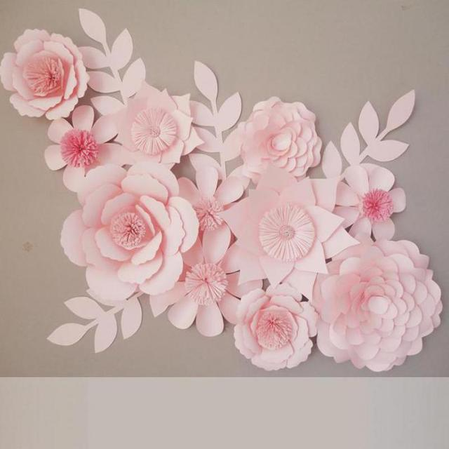 Aliexpress buy 11pcs set cardboard giant paper flowers 4pcs 11pcs set cardboard giant paper flowers 4pcs leaves for showcase wedding backdrops props flores artificiais mightylinksfo