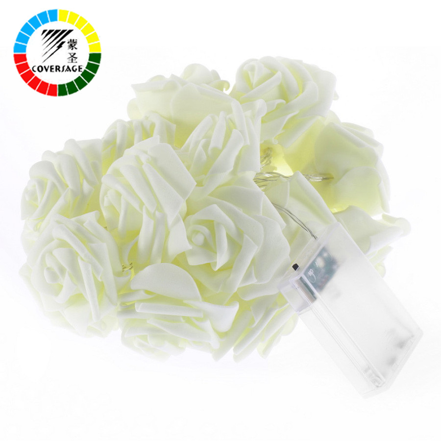 Coversage 2M 20 Leds Fairy Battery Rose Flower String Lights Wedding Decoration Christmas Indoor Curtain Holiday Luces Navidad