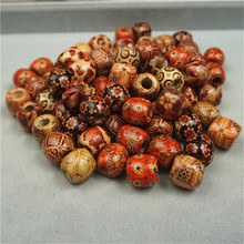 100pcs/lot 12mm Vintage Natural Big Hole Wood Beads Fit Necklace Bracelet Loose Spacer for Diy Jewelry Making