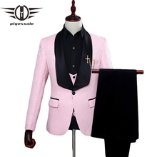 Plyesxale Red White Pink Suit Men 2018 Slim Fit Shawl Collar Suits For Wedding Fashion Jacquard 3 Piece Prom Q134