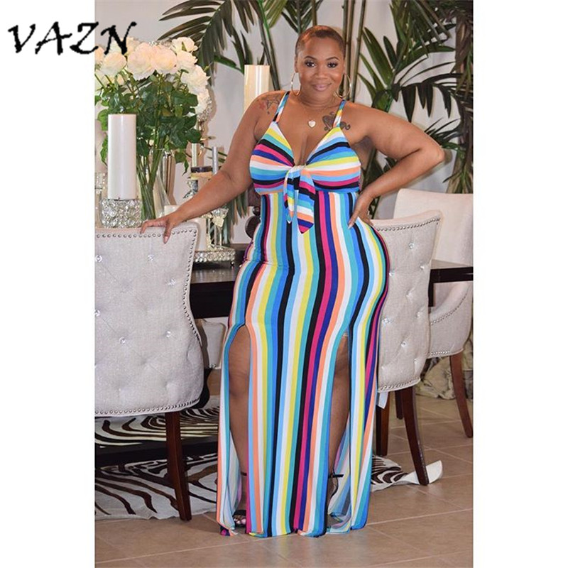 Women's Clothing Vazn Top Quality Novelty Design 2018 Casual Style Women Dress Striped Halter Sleeveless Backless Loose Maxi Dress Vestido A8268 Choice Materials