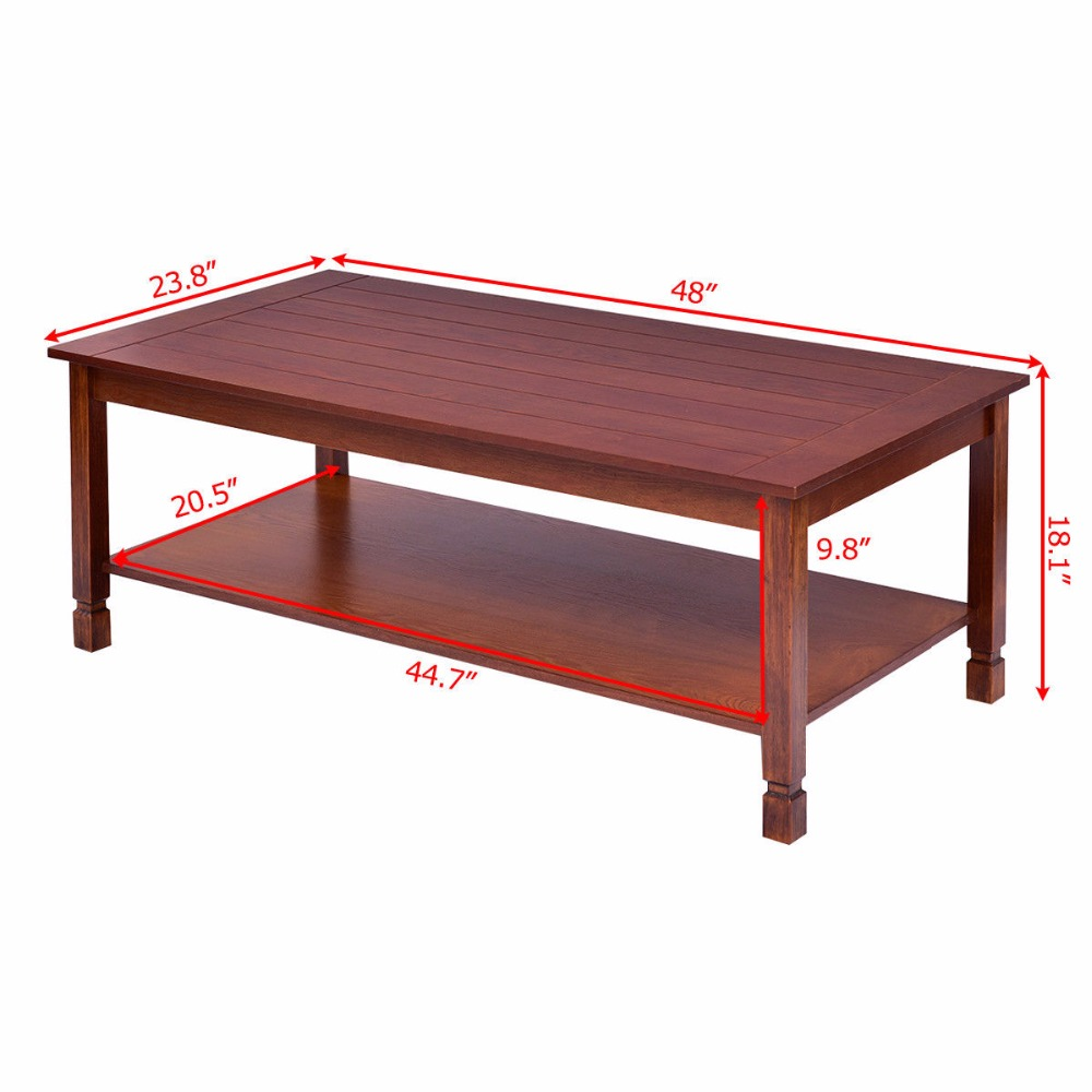 Goplus Wood Coffee Table Rectangle Cocktail Table With Storage Shelf Walnut  Modern Home Living Room Furniture Tables HW56278 In Coffee Tables From  Furniture ...