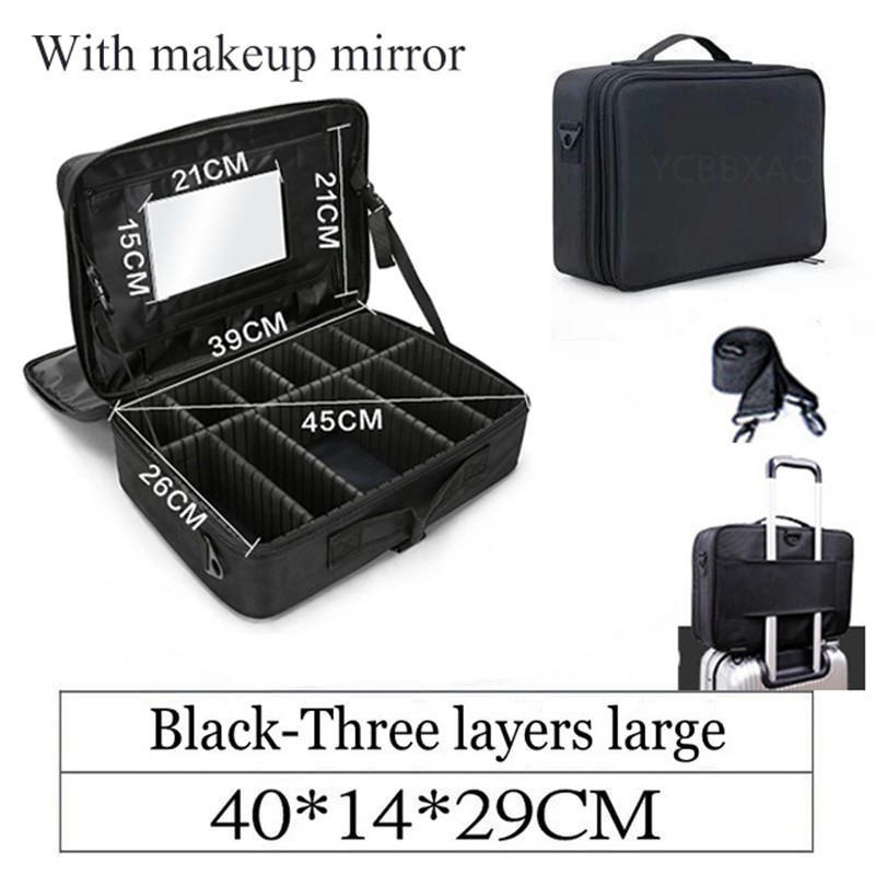 Makeup Bag With Mirror Women Professional Cosmetic Bags Package Bag Nail Pattern Semi-permanent Tool Box Cosmetic Case Large