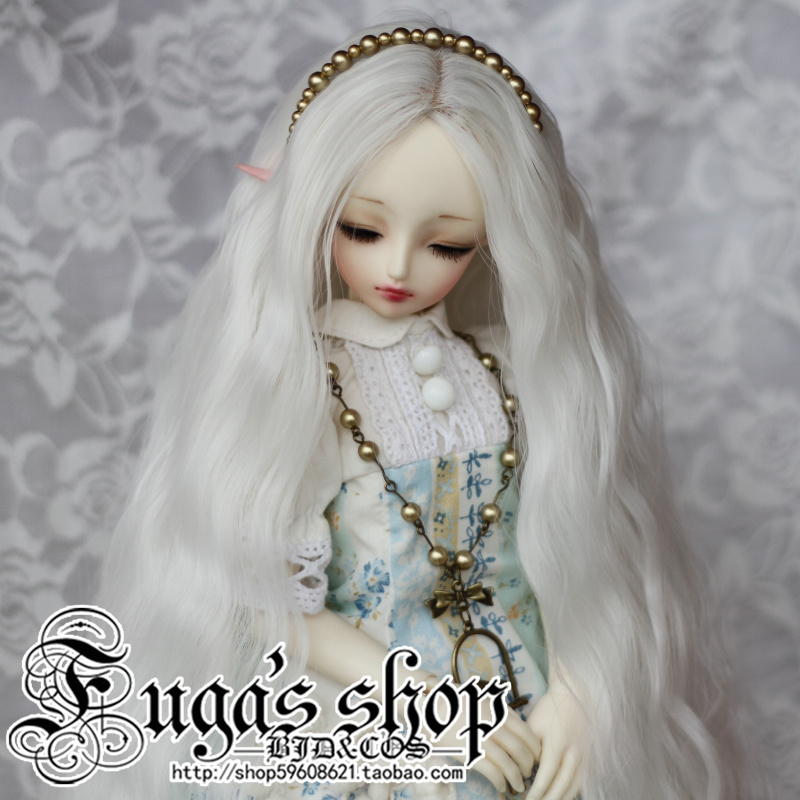 1/3 1/4 Fashion Style Bjd SD Doll Wig High Temperature Wire Long White Colors Beautiful Wavy Wig For BJD Hair fashion white straight fur wig 1 3 1 4 bjd wigs long wig for diy dollfie