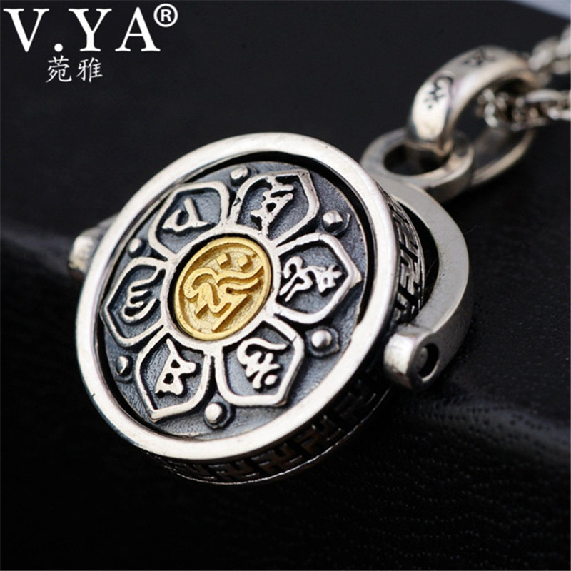 V.YA Retro 925 Sterling Silver Rotated Pendants for Men Religious Buddhistic Six Words Sutra Jewelry Without a ChainV.YA Retro 925 Sterling Silver Rotated Pendants for Men Religious Buddhistic Six Words Sutra Jewelry Without a Chain