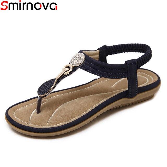 0b879e72884d Smirnova 2018 fashion concise flat sandals solid color ankle strap casual  shoes summer blue apricot pu leather women sandals