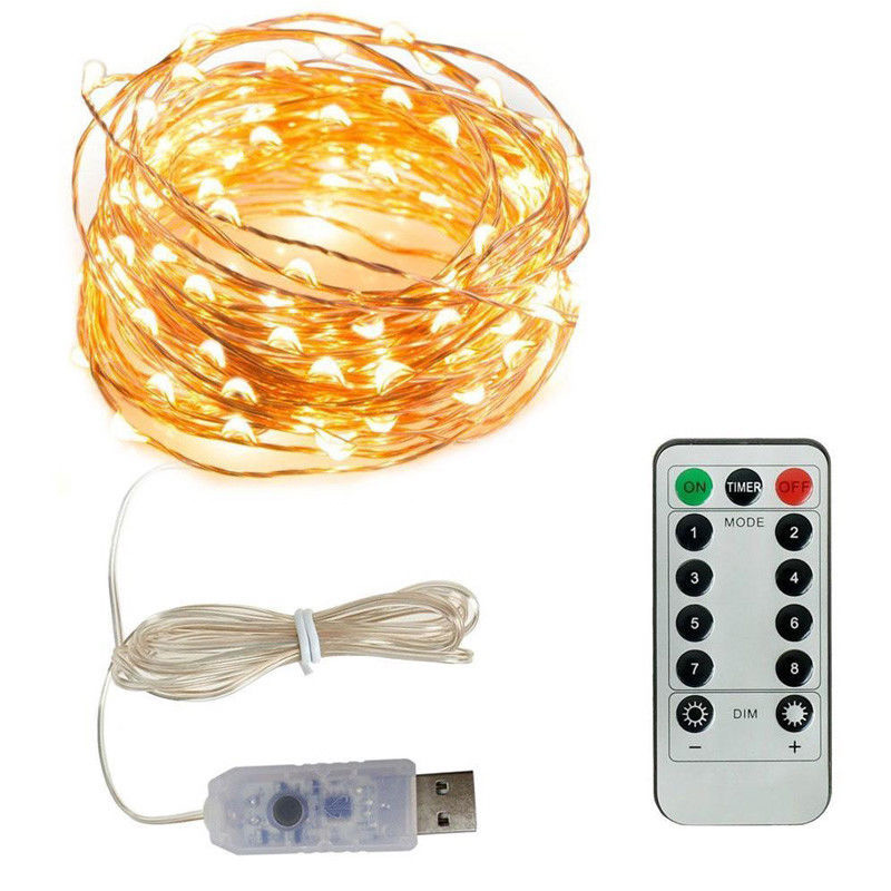 PAIROTTO 8 Modes Remote Control USB LED Fairy String Light Waterproof Twinkle Light String 5m 10m