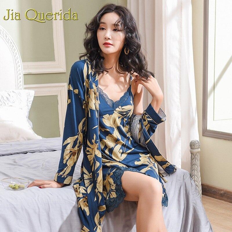Robe Set Women Summer Spring New Fashion Sleepwear Women Nightwear Robe Gown Set Cotton High Quality