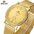 Malla de acero belbi rhinestone mujeres vestido reloj superior de la marca de lujo de cuarzo relojes de señoras de moda casual reloj de pulsera de oro 2017