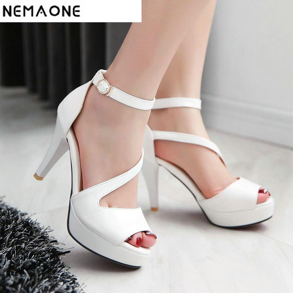 2018 Fashion Women Heels Sexy High Heels Peep Toe Platform Sandals For Prom Nightclub Shoes Woman High Heels Sandals fashion peep toe and platform design sandals for women