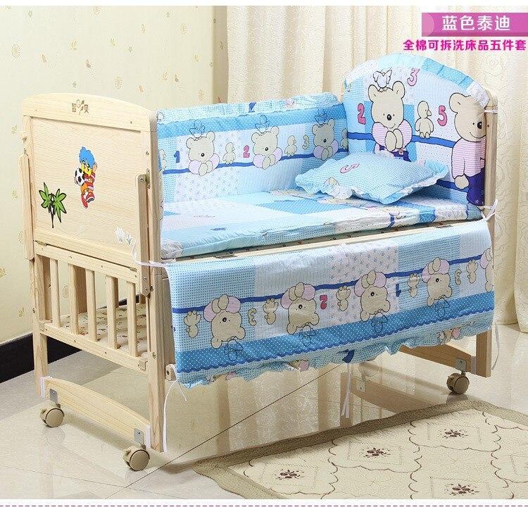 Promotion! 6PCS baby cot sets baby bed bumper free shipping (3bumper+matress+pillow+duvet) promotion 6pcs baby bedding set cot crib bedding set baby bed baby cot sets include 4bumpers sheet pillow
