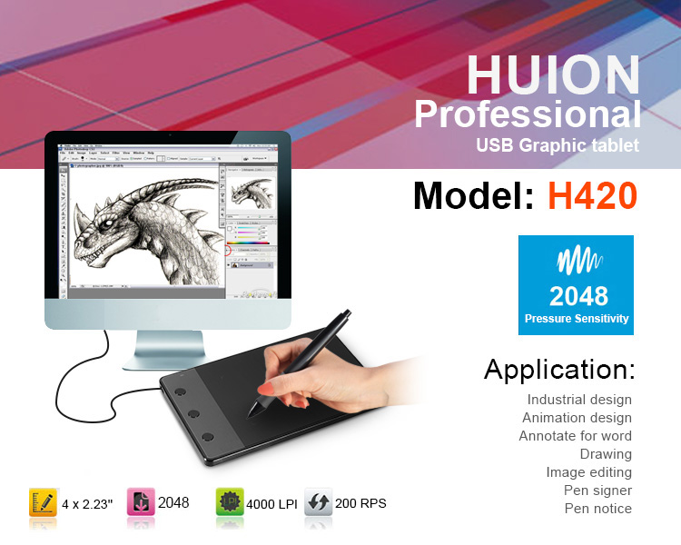 HUION H420 tableta gráfica 4 x 2.23