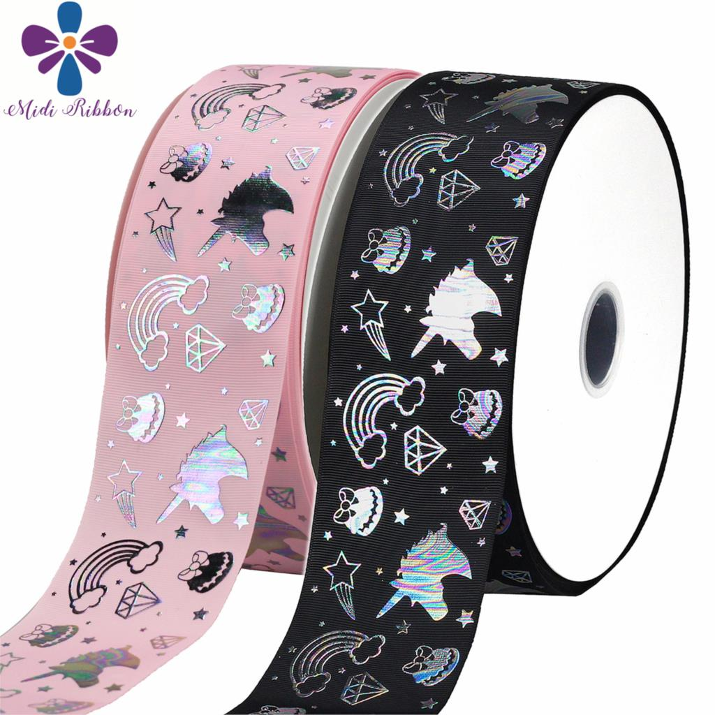 375mm Unicorn Diamond Macaron Silver Hologram Foil Grosgrain Ribbon Little Star Pink Solid Color Diy Xmas Party 50yards/roll Apparel Sewing & Fabric Ribbons