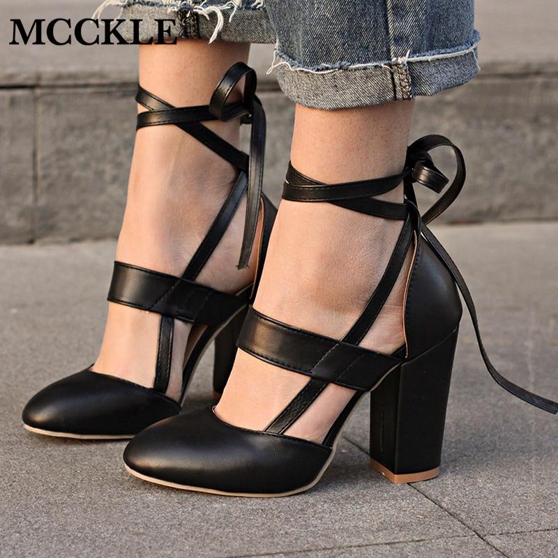 MCCKLE moda femenina correa del tobillo dos piezas negro tacón Chunky tacones altos cómodos 2018 de las mujeres bombas señoras más tamaño zapatos