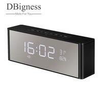Dbigness Portable Bluetooth Speaker Alarm Clock FM Radio Stereo Bluetooth 3.0 Handsfree with Mic LED Display TF Slot 3.5mm AUX