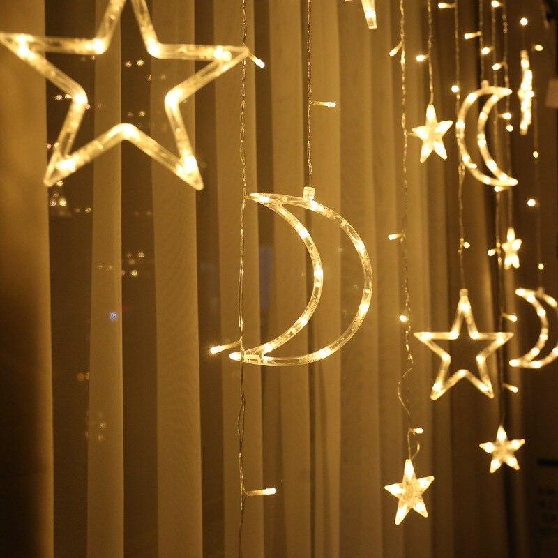 Светодиодный светильник с Лунной звездой, Рождественский светильник, s украшение, праздничный светильник, s занавес, лампа, Свадебный неоновый фонарь, 220 В, сказочный светильник - Испускаемый цвет: moon star warmwhite