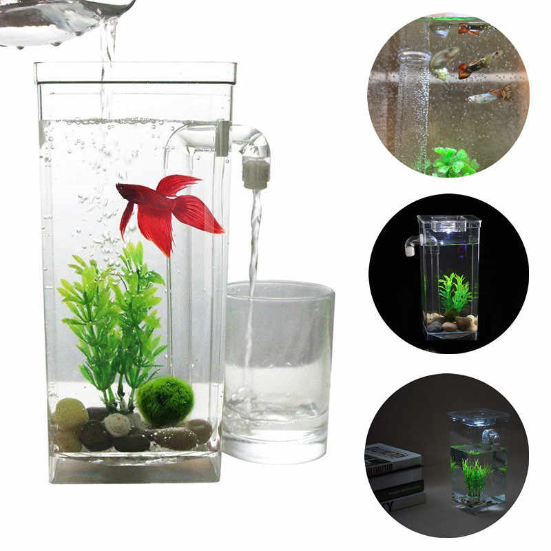 Lucu Diri Pembersih Akuarium Ikan Bowl Dengan Led Bercahaya Dekoratif Desktop Akuarium Mini Ikan Cupang Inkubator Bowl Anak Hadiah Aliexpress