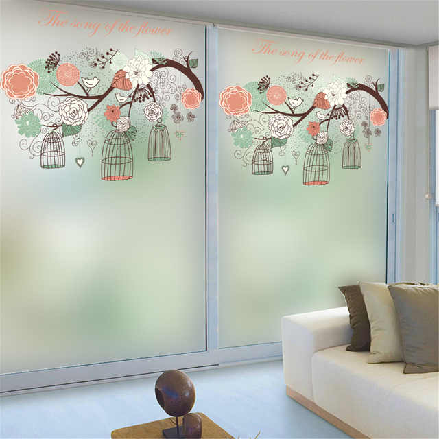 Flowers And Birds Opaque Window Film Self Adhesive Privacy Glass Stickers  Wall Frosted Glass Bedroom Bathroom