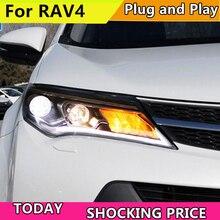 doxa Car Styling For Toyota RAV4 2013-2015 Led Lights Double Xenon Lens Accessories Daytime Running Fog Ligh