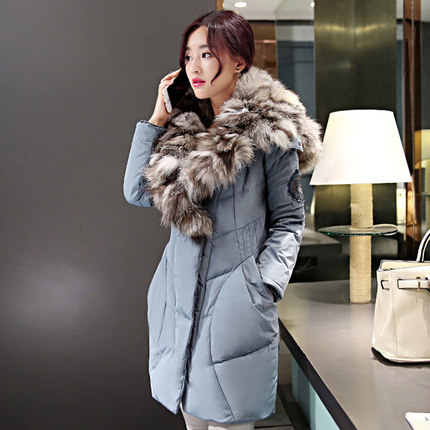 2015 New Hot Winter Thicken Warm Woman Down jacket Coat Parkas Outerwear Hooded Fox Fur collar Luxury High Long Plus Size XL 2015 new hot winter thicken warm woman down jacket coat parkas outerwear hooded fox fur collar luxury long plus size 2xxl goose