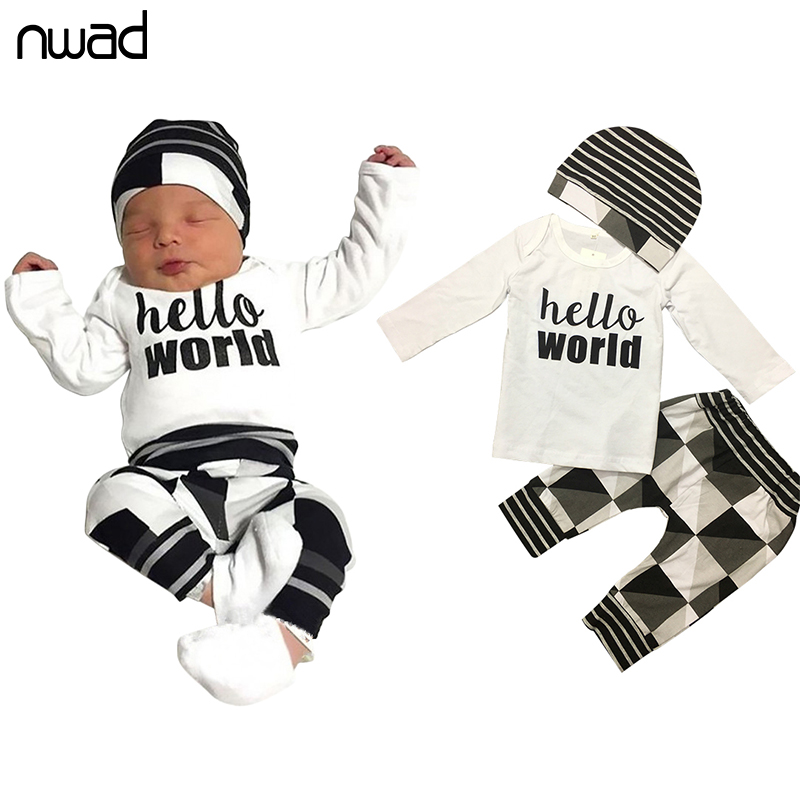 3Pcs/Set Newborn Baby Girl Boy Clothes 2017 Hello World Letter Printing Clothing Set For Baby Long Sleeve Top + Pants+Cap FF213 2pcs set baby boy clothes set newborn baby cotton long sleeve star and letter rompers set infant girl one piece and pants set