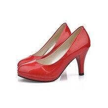 Обувь Женская 2016 Новый Женская Обувь 3 Цвет Черный Белый Красный цвет ПУ Тонкие Каблуки Насосы Профессия Насосы BAOK-780e