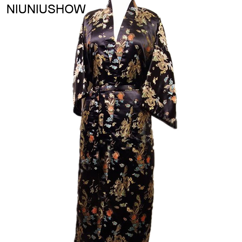 Free Shipping Black Chinese Men's Satin Polyester Robe Kimono Bath Gown Dragon Size S M L XL XXL XXXL M3S009