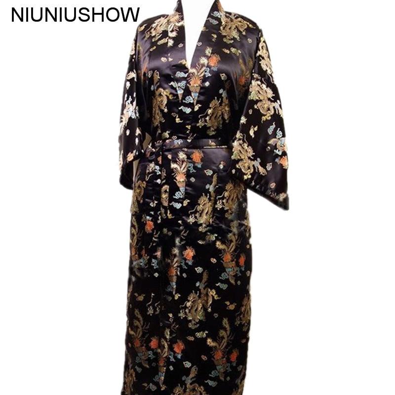 Free Shipping Black Chinese Men's Satin Polyester Robe Kimono Bath Gown Dragon Size S M L XL XXL XXXL M3S009