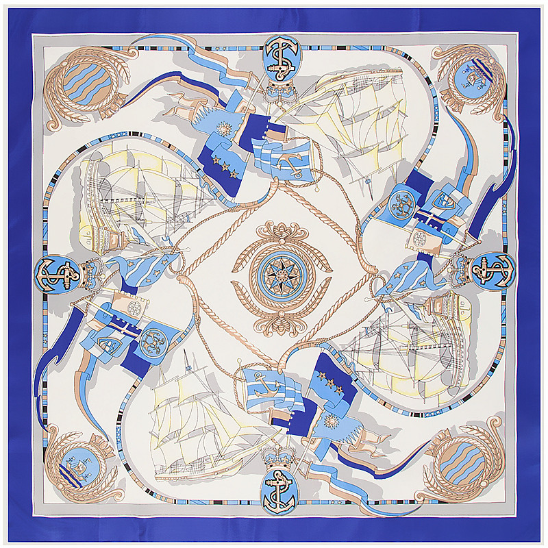 POBING 100% Silk   Scarf   Women Square   Scarves     Wrap   2017 Ocean Sailboat Anchor Neckerchief Female Foulard Silk Hijab Lady Bufandas
