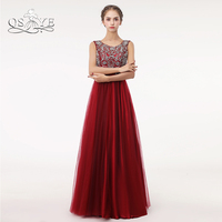 QSYYE Red Long Prom Dresses 2018 Robe de Soiree A line Beaded Top Floor Length Tulle Evening Dress Party Gown Custom Made