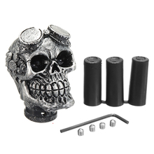 Universal Mechanical Vintage Silver Color Skull Head Gear shift knob for Manual Transmission Halloween supplies