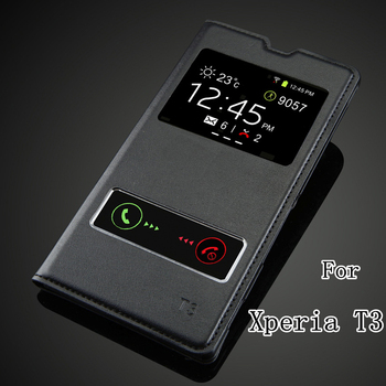 sale retailer 8f671 cf01d Back Cover For Sony Xperia T3 M50W D5103 Luxury View Window Case High