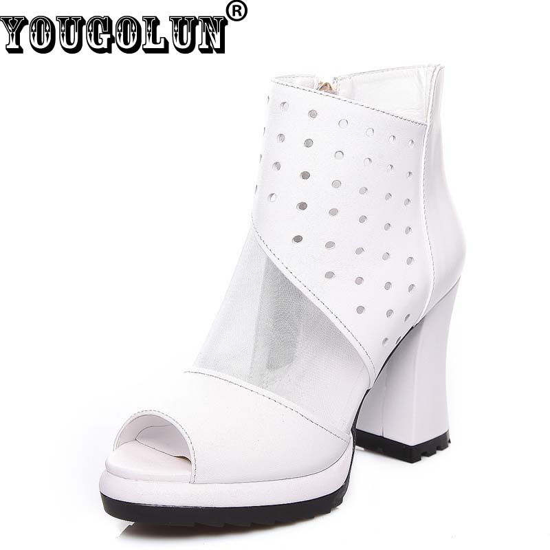 ФОТО YOUGOLUN Spring Summer Women Ankle Boots Genuine Leather Sexy Mesh Boots Ladies Summer Peep toe High Thick Heels(10cm)Shoes