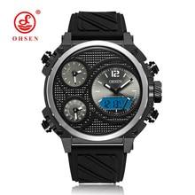 OHSEN Fashion Brand Quartz Digital Watch Man LED 50m Swim Sports Watch Men Silicone Band Military Wristwatch Relogios Masculinos