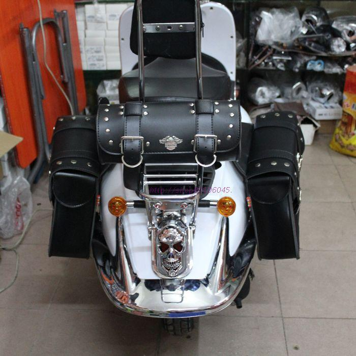 3 piece bag/set NEW LEATHER motorcycle saddle bag Scooter side bag ...