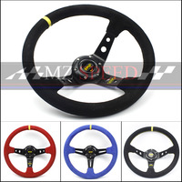 Car accessories New 14inch(35cm) For Racing deep Steering Wheel red Suede Leather and Red line steering wheel