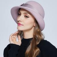 Winter Warm Wool Hat Female Vintage All match Elegant Hat Girls Fashion Wool Fedoras Hat Wide Brim Church Cap B 7329