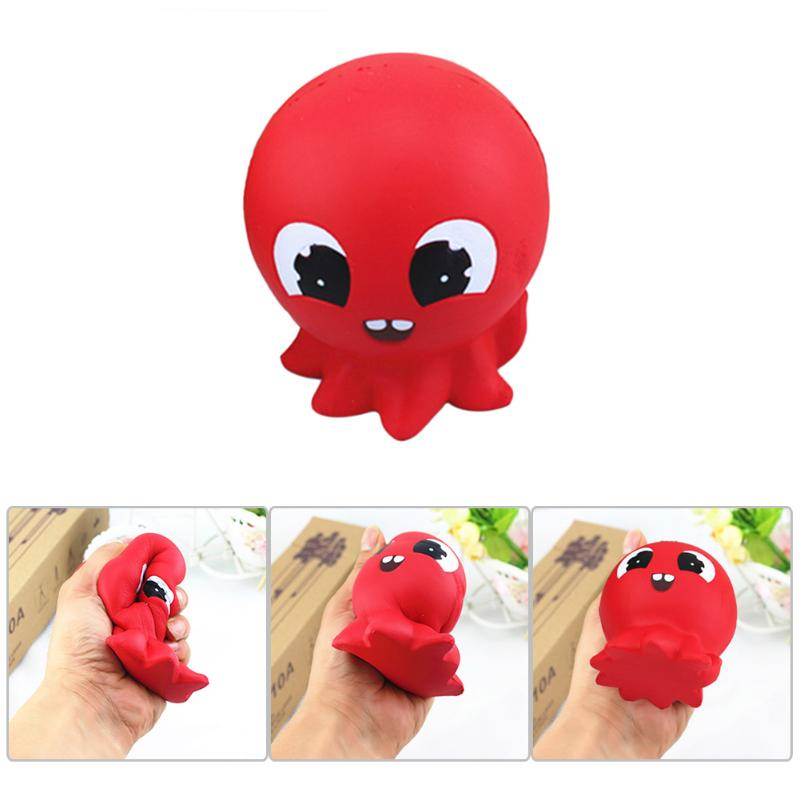 11cm Cute Red Octopus Squeeze Slow Rising Fun Toy Squishy Charm for Children Kids Adult Maker Trick Stress Relief Funny Toys