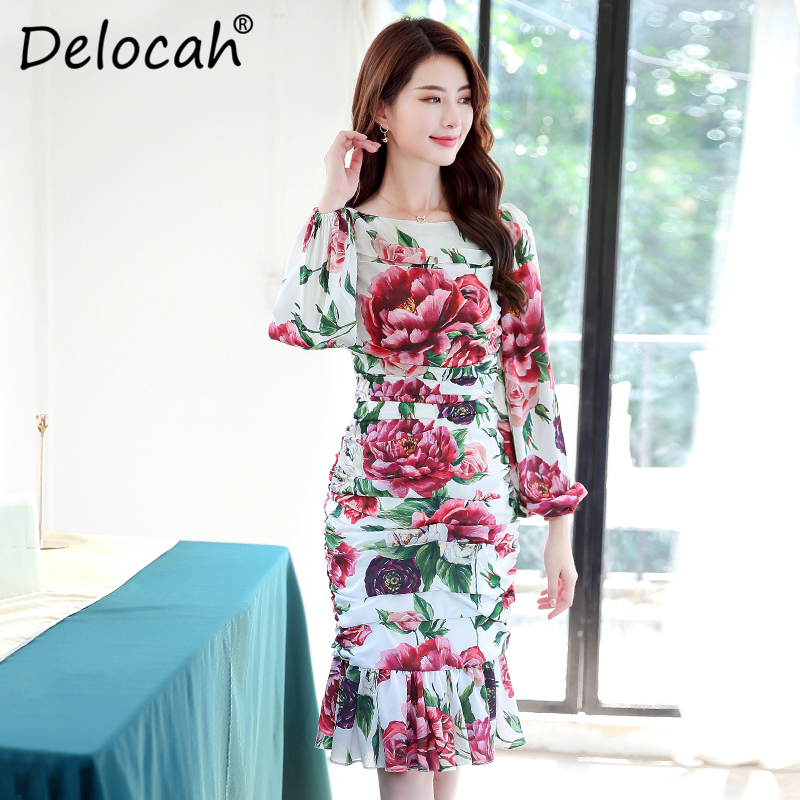 Delocah Spring Summer Fashion Designer Dress Women s Long Sleeve Elegant Peony Flower Printed Ruffle Mermaid