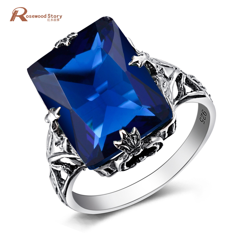Genuine Austrian Crystal Geometric Lab Sapphire Stone Ring 925 Silver Vintage Wedding Engagement Rings For Women Fashion Jewelry delicate alloy faux sapphire geometric ring for women