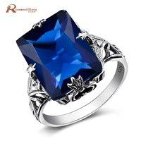 Genuine Austrian Crystal Geometric Lab Sapphire Stone Ring 925 Silver Vintage Wedding Engagement Rings For Women Fashion Jewelry