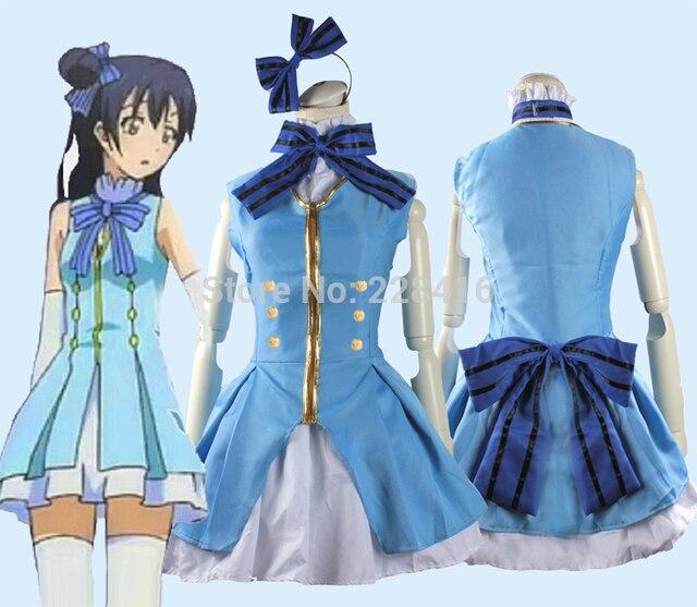 Adult Japanese Anime Fancy Love Live! Cosplay Sonoda Umi Costumes Start dash  Blue Uniform Dress